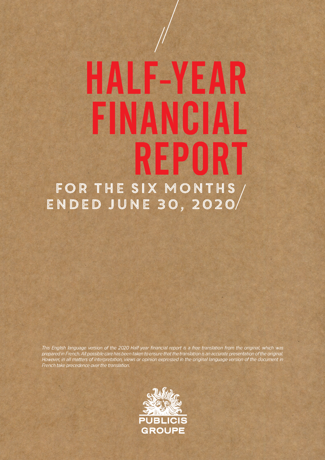 """Cover - """"Half-Year Financial Report -  For the Six Months Ended June 30, 2020"""""""