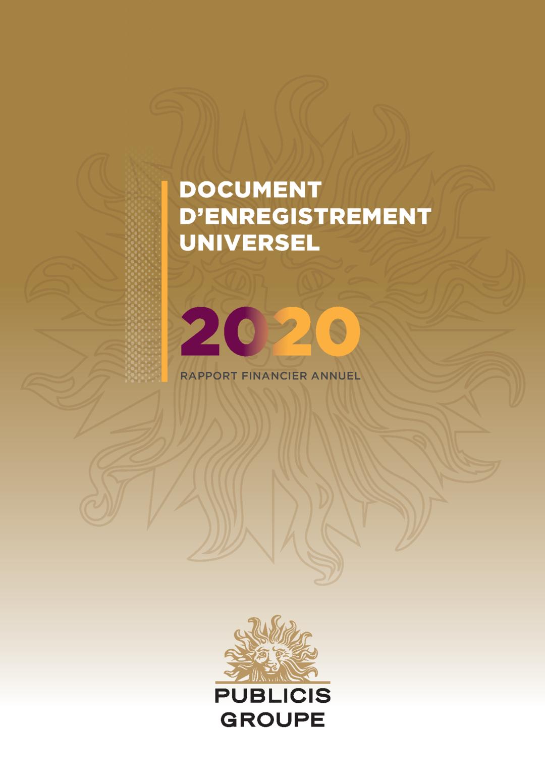 """Couverture - """"2020 Rapport Financier Annuel"""""""