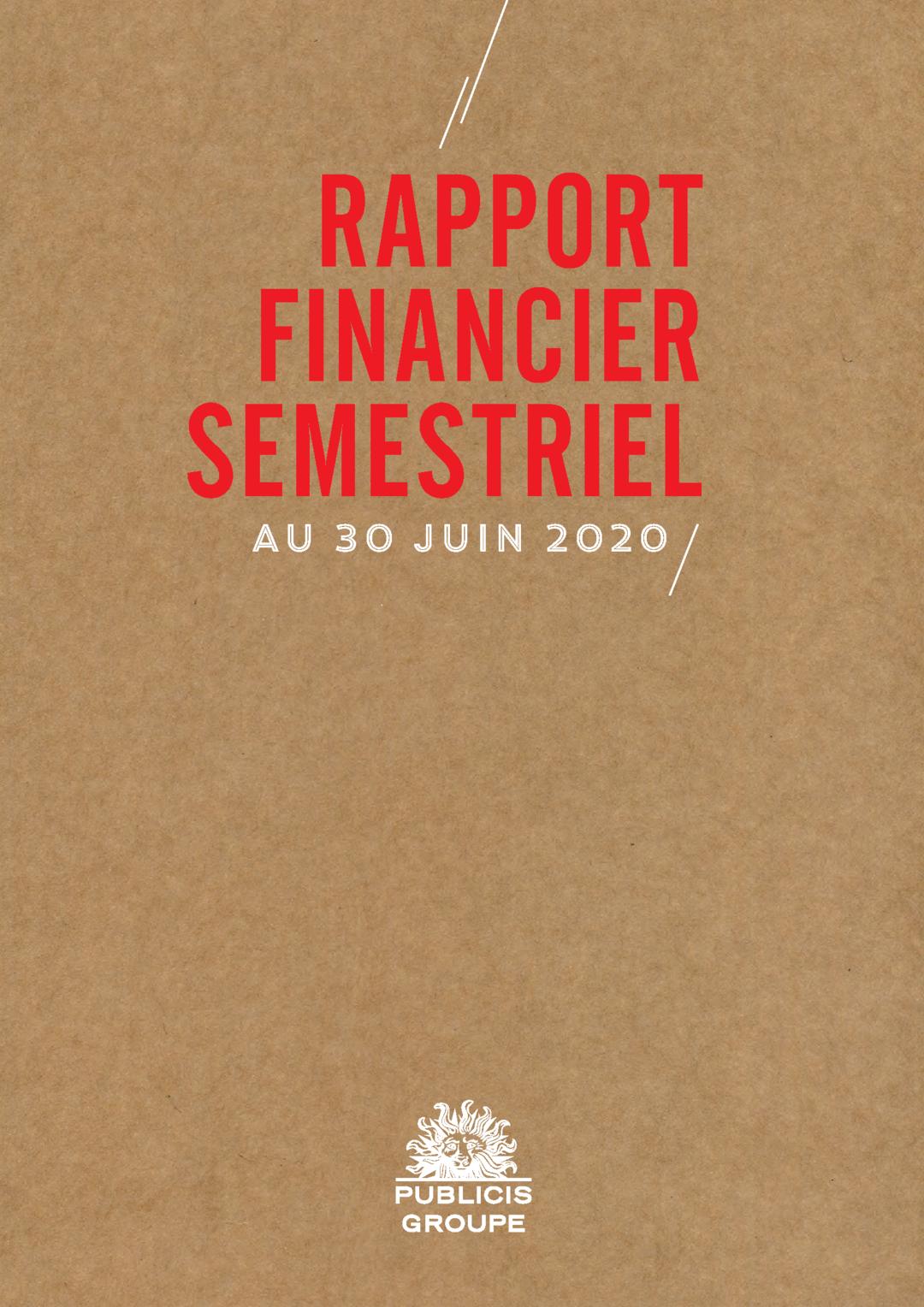 """Couverture - """"Rapport Financier Semestriel au 30 Juin 2020"""""""